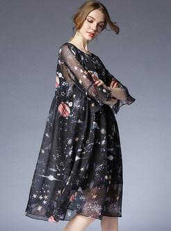 Black Print Perspective Chiffon Dress