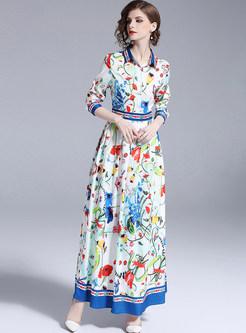 Floral Print Lapel Maxi Dress