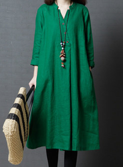 Green Loose V-neck Shirt Dress