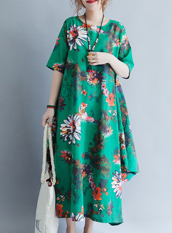 Green Flower Print Loose Maxi Dress