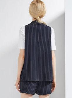 Brief Striped Vest Suit & Striped Culotte