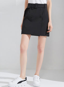 Black Brief Pure Color Casual Skirt
