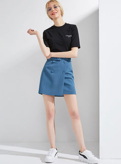 Blue Brief Pure Color Casual Skirt