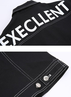 Black Wash Letter Print Denim Coat