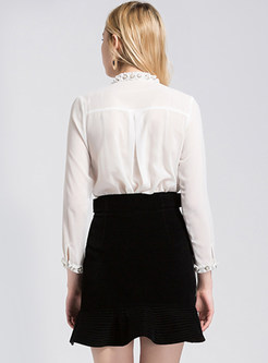 White Slim Nail Bead Blouse