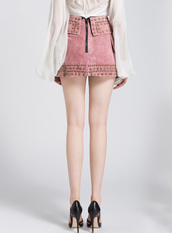 Pink Nail Bead Asymmetric Skirt