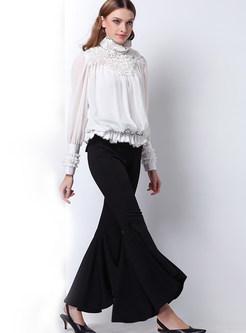 White Stylish See Through Blouse