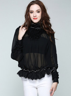 Black Turtleneck Long Sleeve Chiffon Blouse