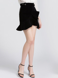 Black Slim Falbala Mini Skirt