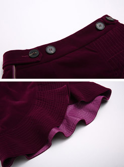Wine Red High Waist Asymmetric Skirt