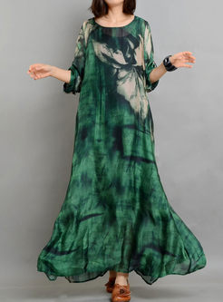 Green Chiffon Rustic Silk Print Dress With Camis