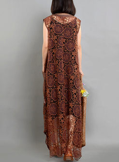 Coffee Lace Ethnic Hollow Out Dress With Vest