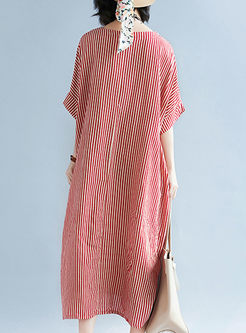 Casual Striped Cotton Plus Size Dress