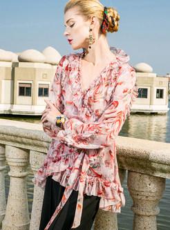 Sweet Silk Floral Print V-neck Blouse