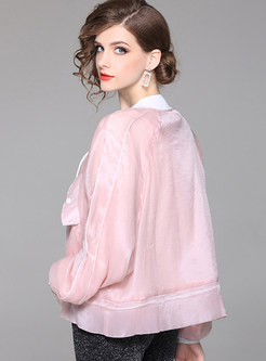 Pink See Through All-match Coat