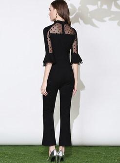 Black High Waist Chiffon Jumpsuits