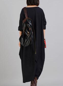 Black Print Stitching Asymmetric Maxi Dress