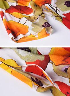 Silk Casual Floral Print Shift Dress