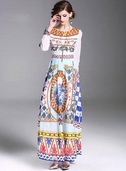 Crew Neck Color-blocked Waist Maxi Dress