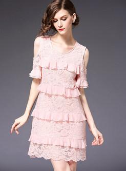 Pink Stylish Off The Shoulder A Line Dress