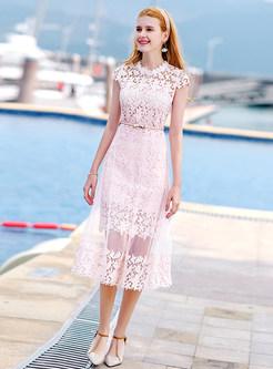 Pink Elegant Perspective Skater Dress