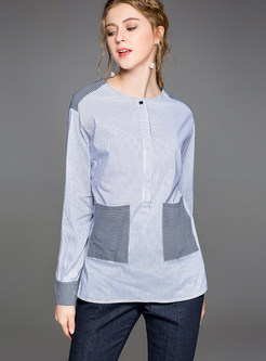 Brief Round Neck Striped Blouse