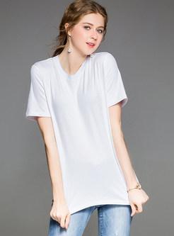 White Fashion Print Short Sleeve T-shirt