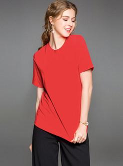 Red Stylish Round Neck T-shirt