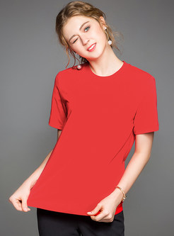 Red Stylish Round Neck T-shirt
