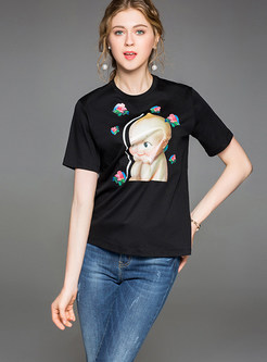 Black Cute Design Short Sleeve T-shirt