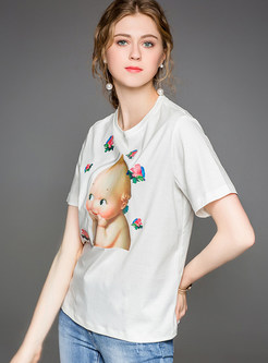 White Cartoon Print Fashion T-shirt