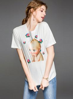 White Cartoon Print Fashion T-shirt
