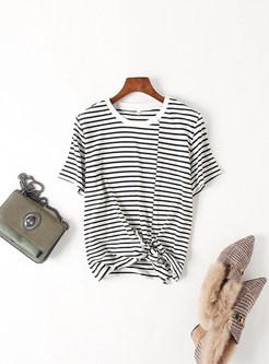 White Striped Tied Round Neck T-shirt