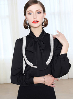 Black Court Bowknot Tied Blouse