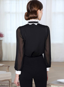 Black Court Stand Collar Splicing Blouse