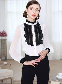 White Falbala Stitching Long Sleeve Blouse