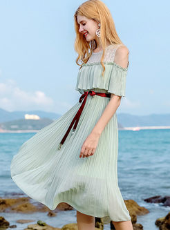 Chiffon Falbala Belt Splicing Pleated Dress