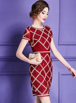 Vintage Plaid Embroidery Lace Sheath Dress