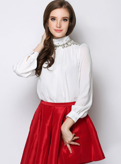 White Nail Bead Slim Blouse