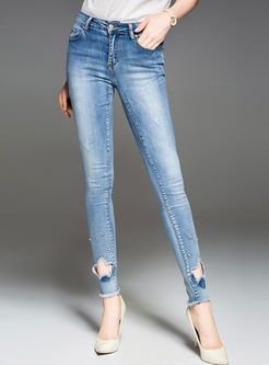 Fashion Hollow Out Denim Pencil Pants