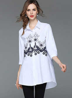 White Embroidered Lapel Loose Blouse