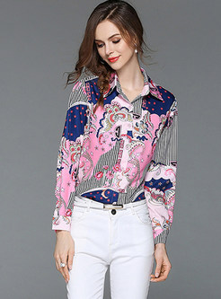 Stylish Color-blocked Lapel Print Blouse