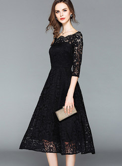 Brief Lace Hollow Skater Dress
