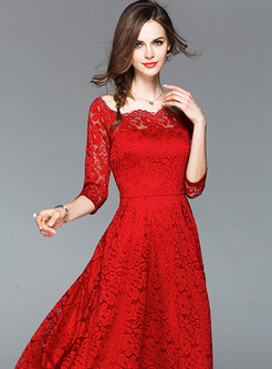 Red Hollow Out A Line Party Dress