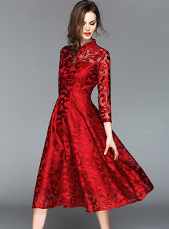 Red Embroidered Long Sleeve Skater Dress