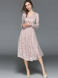 Pink Elegant Embroidered Lace Dress
