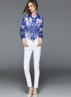 Blue And White Porcelain Lapel Blouse