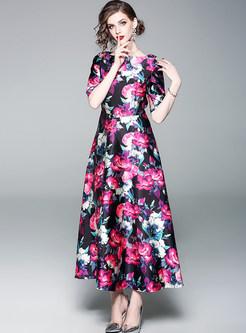 Vintage Flower Print Maxi Dress
