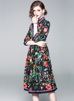Floral Print Bowknot High Waist Midi Dress