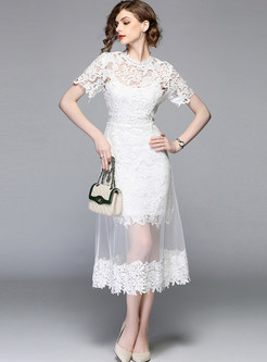 White Mesh Perspective Dress With Lace Slip Dress